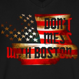 Don't Mess With Boston Back to Beantown T-Shirts - Men's V-Neck T-Shirt by Canvas