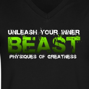 Unleash Your Inner Beast Physiques of Greatness T-Shirts - Men's V-Neck T-Shirt by Canvas