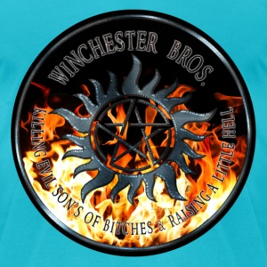 Winchester Bros protection Symbal Ring Patch Iron  T-Shirts - Men's T-Shirt by American Apparel