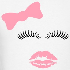 Hair bow, eye lashes and kiss. T-Shirts