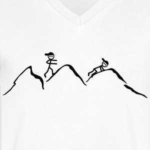 Climber in the mountains T-Shirts - Men's V-Neck T-Shirt by Canvas