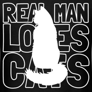 real man loves cats - Men's T-Shirt