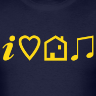 Design ~ I Love House Music (Symbolic, Yellow on blue, Flock - Velvety)