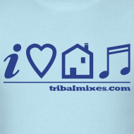 Design ~ I Love House Music (Symbolic, Blue on Sky Blue) - Ver.2