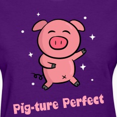 cute pink piggy dancing happily Women's T-Shirts