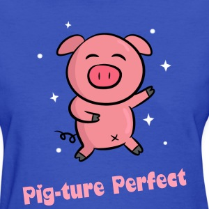 cute pink piggy dancing happily Women's T-Shirts - Women's T-Shirt
