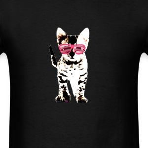 kitten in pink shades  T-Shirts - Men's T-Shirt