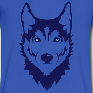 Head of a Siberian Husky dog T-Shirts - Men's V-Neck T-Shirt by Canvas