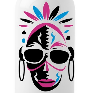 African mask with sunglasses Bottles & Mugs - Water Bottle