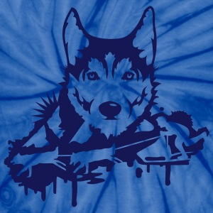 Dog racing with Husky Head  T-Shirts - Unisex Tie Dye T-Shirt