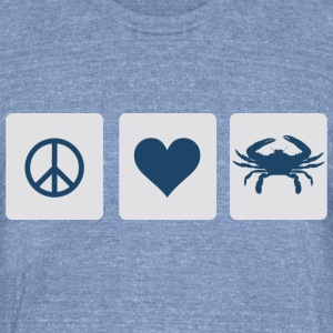 Peace, Love, Blue Crab T-Shirts - Unisex Tri-Blend T-Shirt by American Apparel