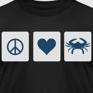 Peace, Love, Blue Crab T-Shirts - Men's T-Shirt by American Apparel