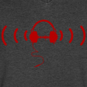 Headphones with Loud Music in Red - Men's V-Neck T-Shirt by Canvas
