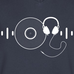 Headphones with Vinyl Record in White - Men's V-Neck T-Shirt by Canvas