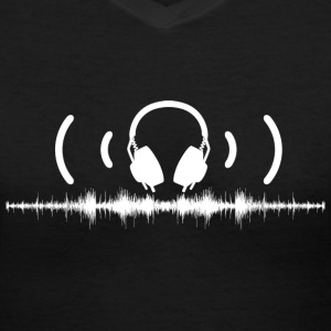 Headphones with Soundwaves and Audio in White - Women's V-Neck T-Shirt