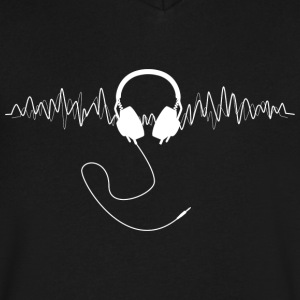 Headphones with Soundwaves Visual in White - Men's V-Neck T-Shirt by Canvas