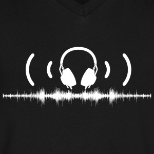 Headphones with Soundwaves and Audio in White - Men's V-Neck T-Shirt by Canvas