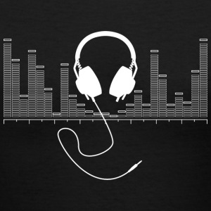 Headphones with Audio Bar Graph in White - Women's V-Neck T-Shirt