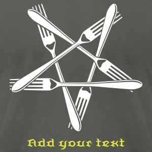Fork Pentagram T-Shirts - Men's T-Shirt by American Apparel