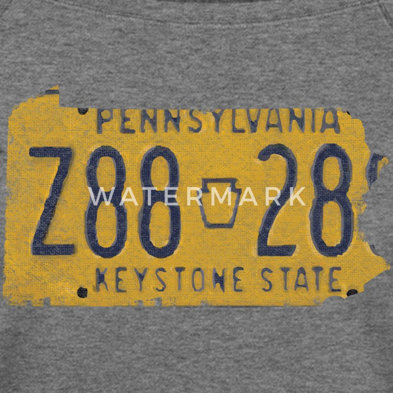 Pennsylvania State License Plate Long Sleeve Shirts - Women's Wideneck Sweatshirt