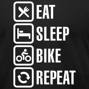 Eat sleep bike repeat  T-Shirts - Men's T-Shirt by American Apparel