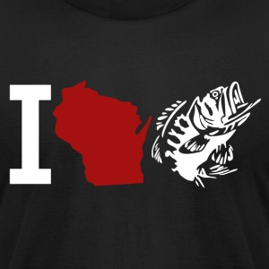 I LOVE WISCONSIN FISHING T-Shirts - Men's T-Shirt by American Apparel