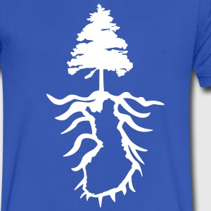 Finnish Roots Fir - Finland Map on back - Men's Cr - Men's V-Neck T-Shirt by Canvas