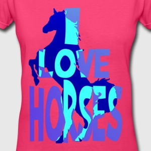 I Love Horses - Women's V-Neck T-Shirt