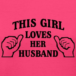 This Girl Loves Her Husband Women's T-Shirts - Women's V-Neck T-Shirt