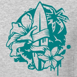 Surfboard with two flowers and a palm tree Long Sleeve Shirts - Crewneck Sweatshirt