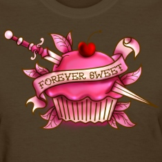 Forever Sweet Cupcake Tattoo- Pink Women's T-Shirts
