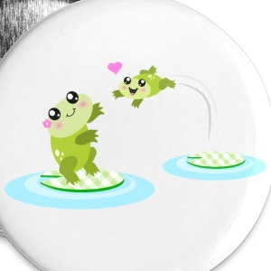Mother and child cute frogs Buttons - Large Buttons