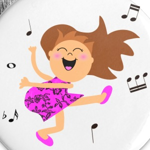 Cute dancing girl cartoon in hot pink dress Buttons - Large Buttons