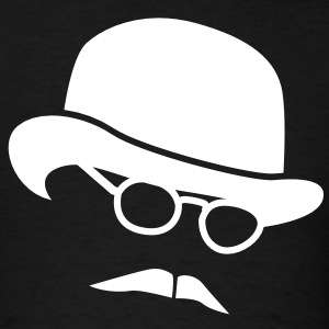 Bowler hat man in glasses and a moustache T-Shirts - Men's T-Shirt
