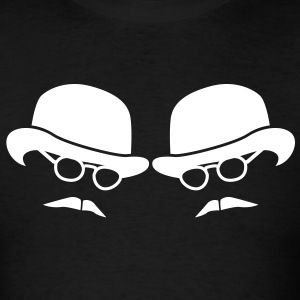 bowler hat man duel two men glasses and moustaches T-Shirts - Men's T-Shirt