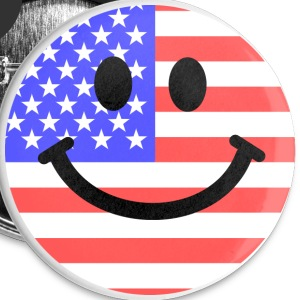 American flag smiley face Buttons - Small Buttons