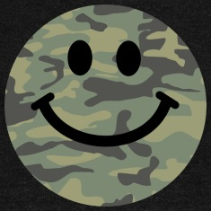 Army green camo Smiley face Long Sleeve Shirts