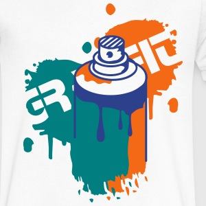 Spray can Graffiti Style T-Shirts - Men's V-Neck T-Shirt by Canvas