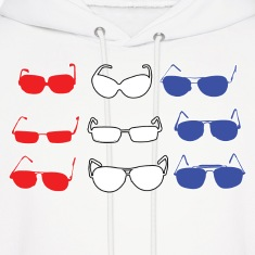 Red White and Blue Sunglasses Hoodies