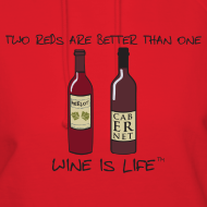 Design ~ Two Reds - Womens Hooded Sweatshirt