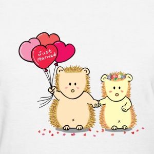 hedgehog couple with heart balloons Women's T-Shirts - Women's T-Shirt