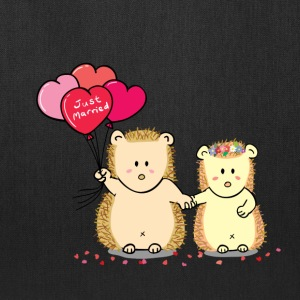 hedgehog couple with heart balloons Bags & backpacks - Tote Bag