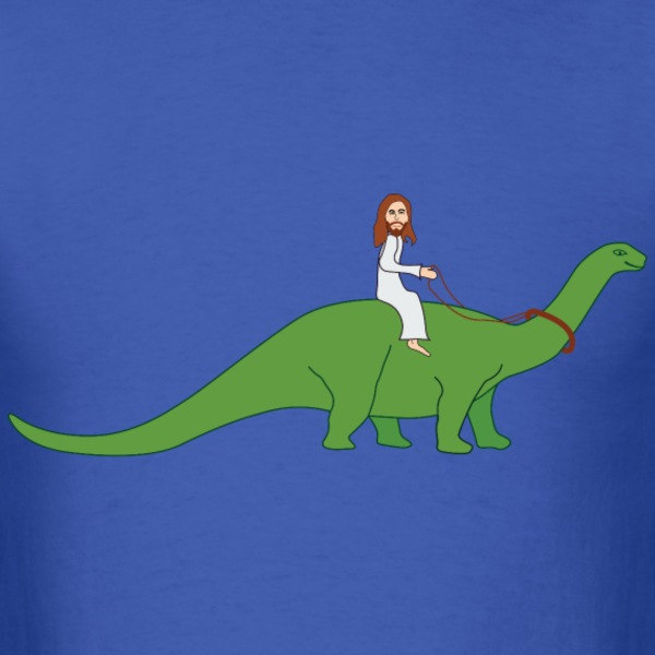 Jesus Riding a Brontosaurus - Men's T-Shirt