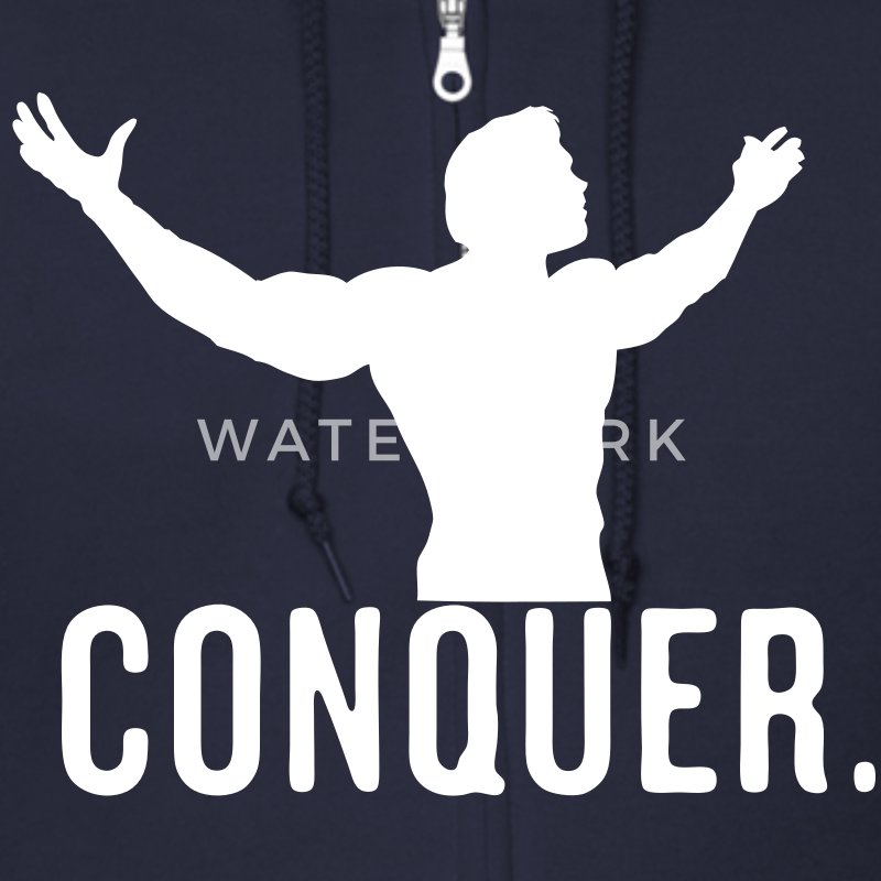 Conquer Arnie Vector Design - Men's Zip Hoodie