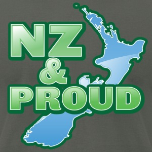 NZ New Zealand and proud with kiwi map T-Shirts - Men's T-Shirt by American Apparel