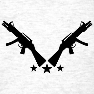 Assault Rifle Gun Stars Design T-Shirts - Men's T-Shirt