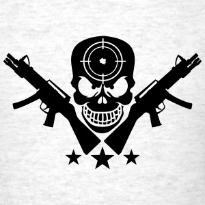 Assault Rifle Gun Skull Target Design T-Shirts - Men's T-Shirt