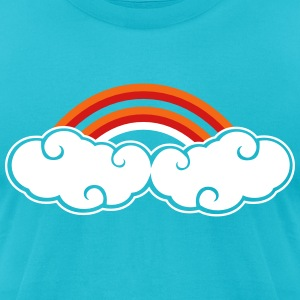 cute curly clouds rainbow T-Shirts - Men's T-Shirt by American Apparel