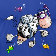 Diving Cow Cartoon Shirt T-Shirts