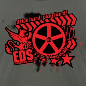EDS Drive Hard, Play Hard (Red/Black on Asphalt) - Men's T-Shirt by American Apparel